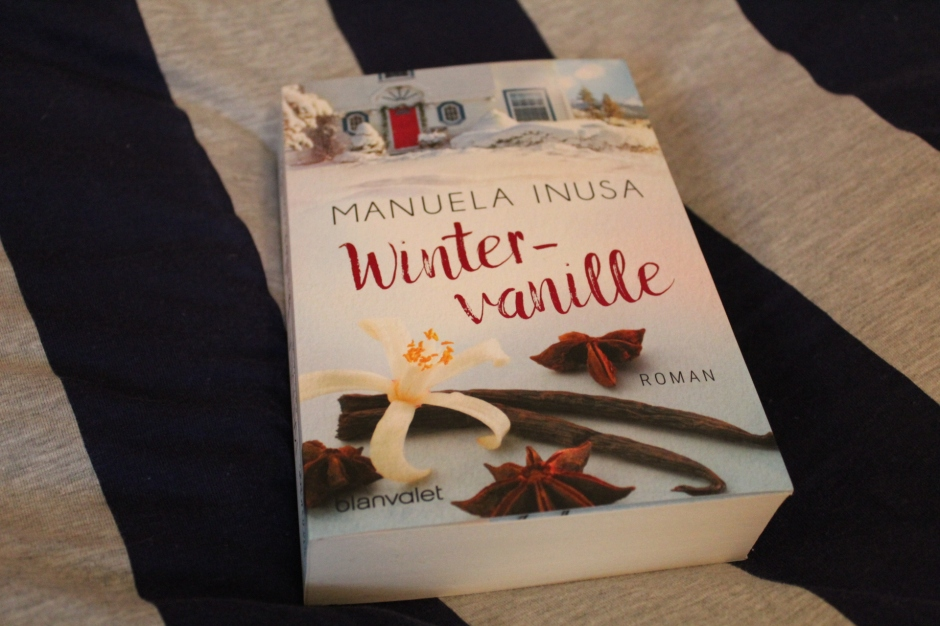 the book Wintervanille by Manuela Inusa on blue and gray stripes
